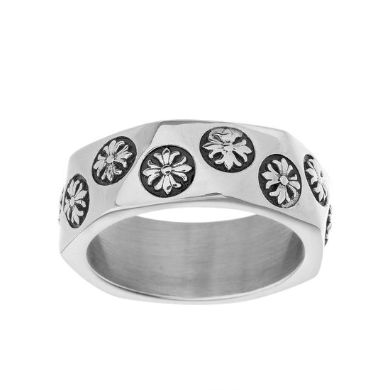 Imagen de Silver-Tone Stainless Steel Men's Oxidized Flower Design Eternity Band Ring Size 10