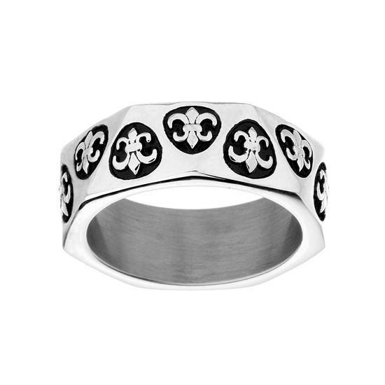 Imagen de Silver-Tone Stainless Steel Men's Oxidized Fleur Di Lis Design Eternity Band Ring Size 9