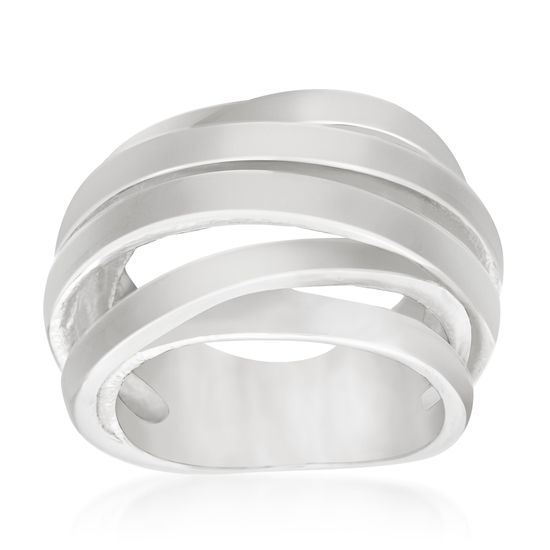 Imagen de Silver-Tone Stainless Steel Crossover Wide Open Work Design Ring Size 6