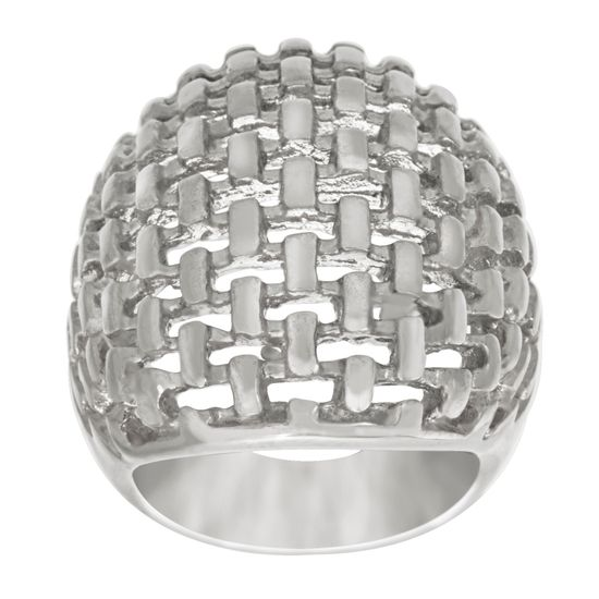 Imagen de Silver-Tone Stainless Steel Basket Weave Wide Open Work Design Ring Size 7