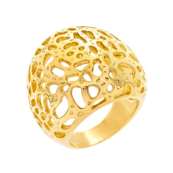 Imagen de Gold-Tone Stainless Steel Filigree Open Work Ring Size 7