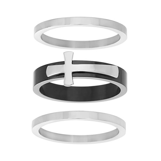 Picture of Two-Tone Stainless Steel Men's Sideways Cross Design Band Ring Size 10