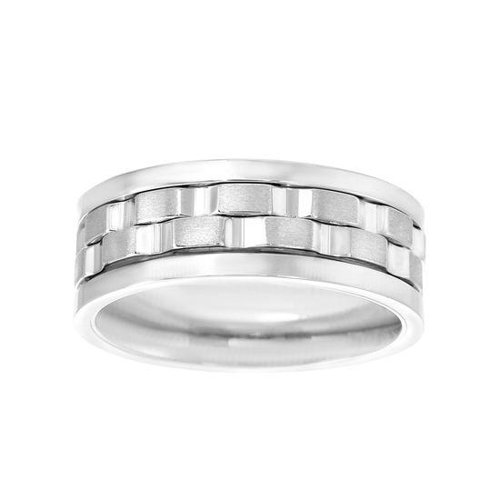Imagen de Silver-Tone Stainless Steel Men's Center Textured Spinner Ring Size 9