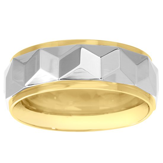 Imagen de Two-Tone Stainless Steel Tungsten Geo Design Band Ring Size 11