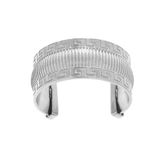 Imagen de Silver-Tone Stainless Steel Greek Key Pattern Ring Size 7