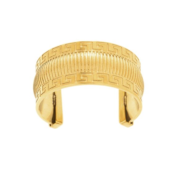 Imagen de Gold-Tone Stainless Steel Greek Key Pattern Ring Size 6