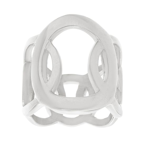 Imagen de Silver-Tone Stainless Steel Over Lapping Circle Design Ring Size 7