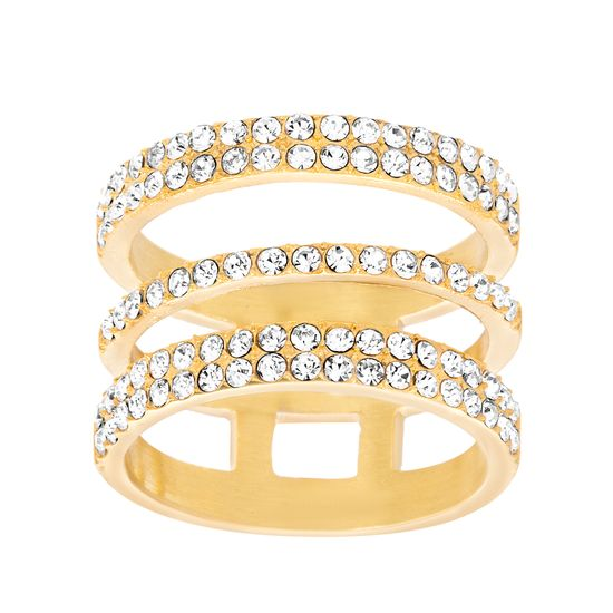 Imagen de Gold-Tone Stainless Steel Crystal Triple-Strand Open Work Ring Size 7