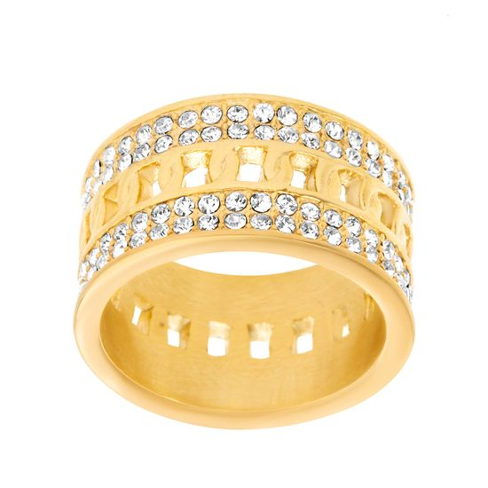 Imagen de Gold-Tone Stainless Steel Crystal Border Twist Center Eternity Band Ring Size 8