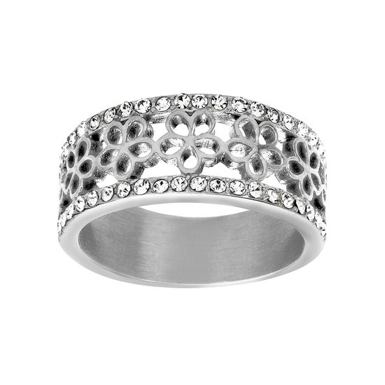 Imagen de Silver-Tone Stainless Steel Crystal Floral Design Ring Size 8