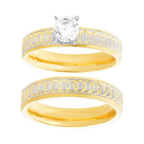 Imagen de Two-Tone Stainless Steel Cubic Zirconia Interlocking Circle Design Duo Wedding Ring Set Size 9