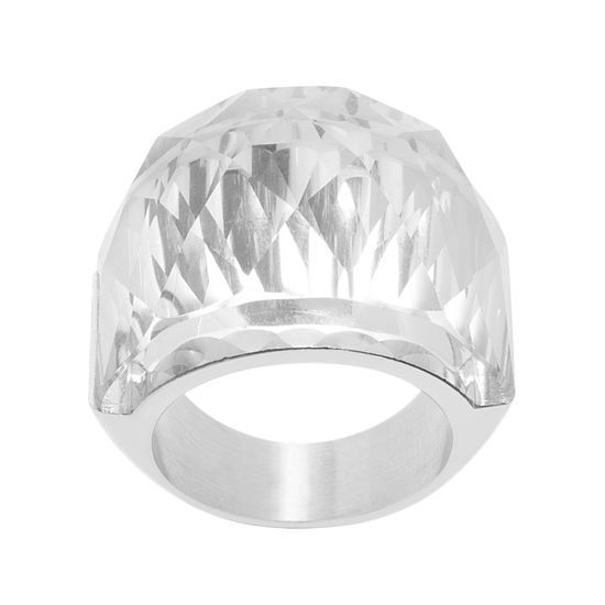 Picture of Faceted Crystal Graduated Ring in Stainless Steel