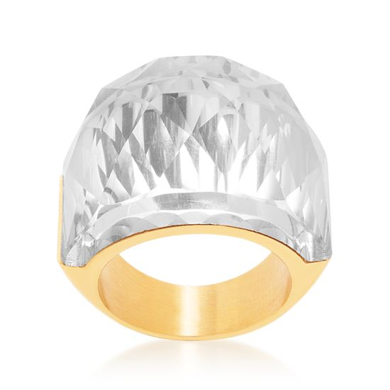 Imagen de Faceted Crystal Graduated Ring in Gold IP Stainless Steel
