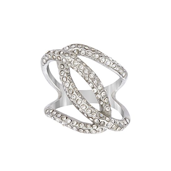Imagen de Silver-Tone Stainless Steel Crystal Interlocking Loops Open Work Ring Size 7