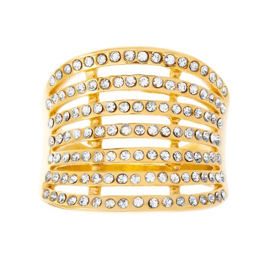 Imagen de Gold-Tone Stainless Steel Crystal Concave Multi-Row Open Work Ring Size 9