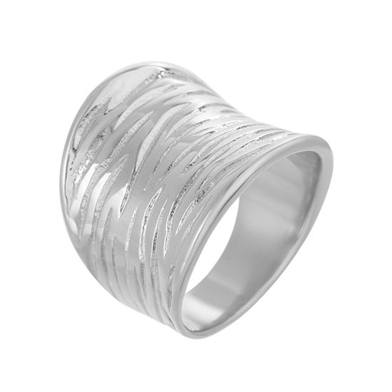 Imagen de Silver-Tone Stainless Steel Concave Textured Ring Size 9