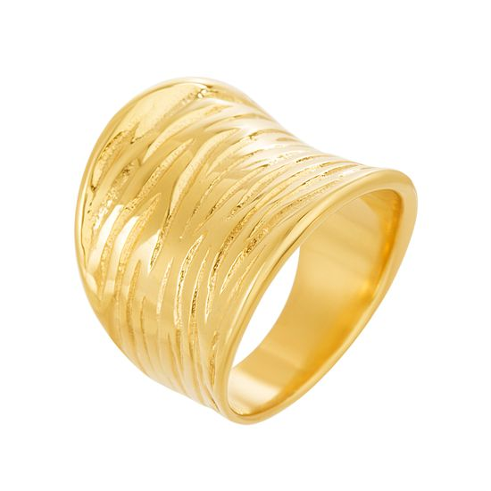 Imagen de Gold-Tone Stainless Steel Concave Textured Ring Size 9