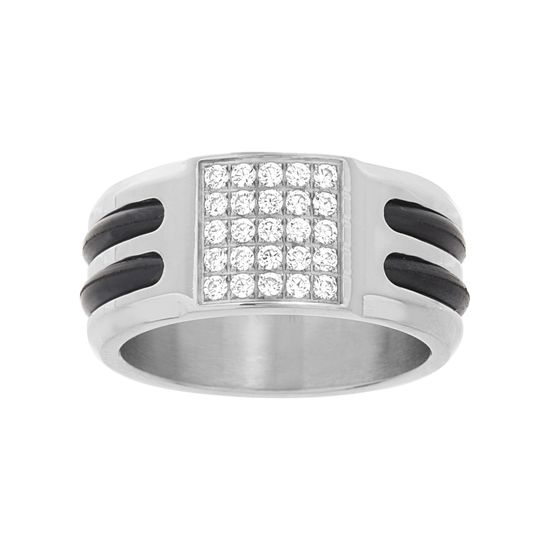 Imagen de Silver-Tone Stainless Steel Men's Pave Cubic Zirconia Black Leather Stripes Band Ring Size 10