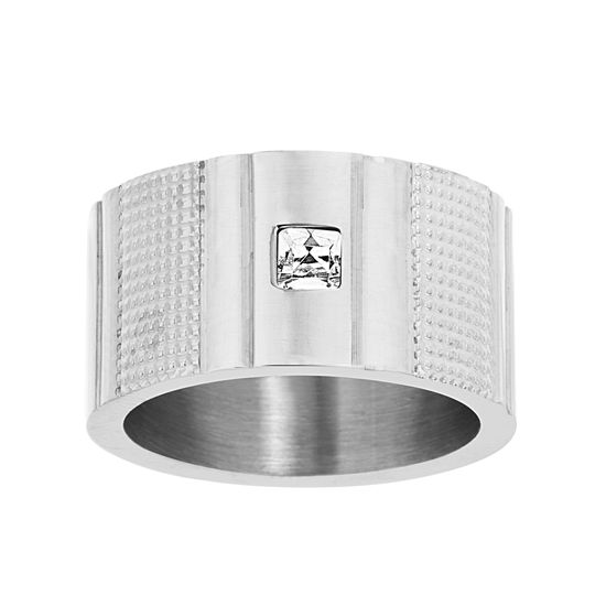 Picture of Silver-Tone Stainless Steel Men's Bezel Square Crystal Textured Band Ring Size 10