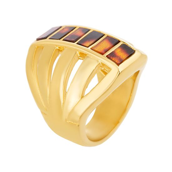 Imagen de Gold IP Plated Stainless Steel Tortoise Shell Bars Multi-Strand Open Work Ring