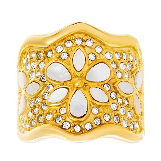 Imagen de Gold-Tone Stainless Steel Mother of Pearl & Crystal Floral Design Wavy Ring Size 8