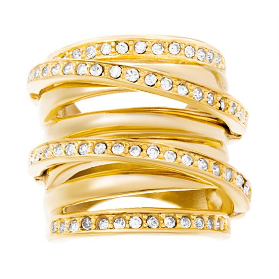 Imagen de Gold-Tone Stainless Steel Crystal Multi Row Crossover Design Ring Size 6