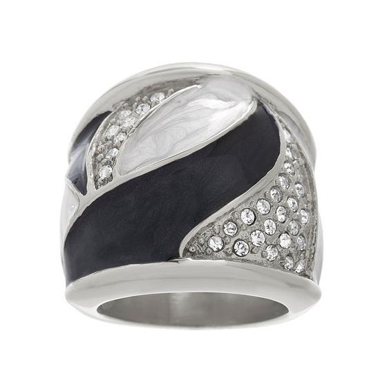 Imagen de Silver-Tone Stainless Steel Crystal Black & White Enamel Swirl Design Dome Ring Size 6