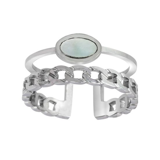 Imagen de Silver-Tone Stainless Steel Round Mother of Pearl Open Work Cuff Ring Size 7