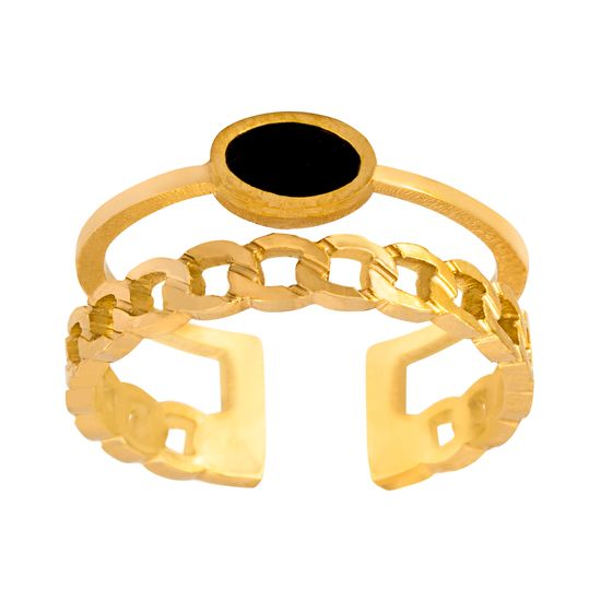 Imagen de Gold-Tone Stainless Steel Round Black Stone Open Work Cuff Ring Size 9