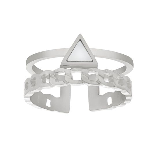 Imagen de Silver-Tone Stainless Steel Triangle Mother of Pearl Curb Link Open Work Cuff Ring Size 9