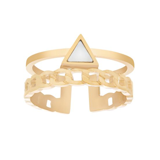 Imagen de Gold-Tone Stainless Steel Triangle Mother of Pearl Curb Chain Design Open Work Ring Size 9