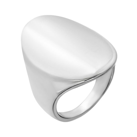 Imagen de Silver-Tone Stainless Steel Oval Shaped Dome Ring Size 8