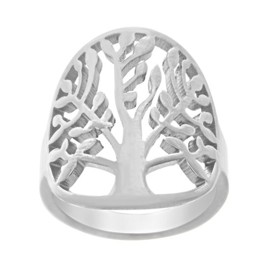 Imagen de Silver-Tone Stainless Steel Tree of Life Graduated Ring Size 6