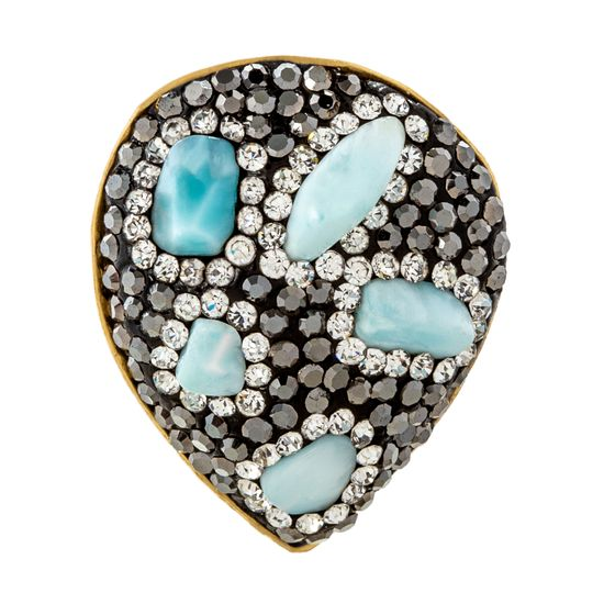 Picture of Lab Created Larimar Stone and Black/White Faceted Crystal Border Ring in Gold IP Stainless Steel