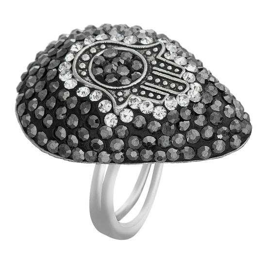 Imagen de Black Teardrop Stone Hamsa Ring in Stainless Steel