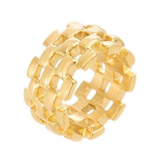 Imagen de Gold-Tone Stainless Steel Basket Weave Design Ring Size 8