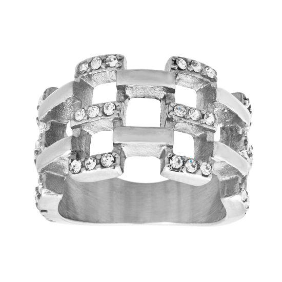 Imagen de Silver-Tone Stainless Steel Crystal Basket Weave Design Ring Size 6