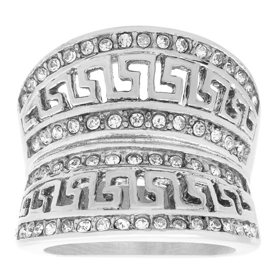 Imagen de Silver-Tone Stainless Steel Crystal Greek Key Design Concave Ring Size 9