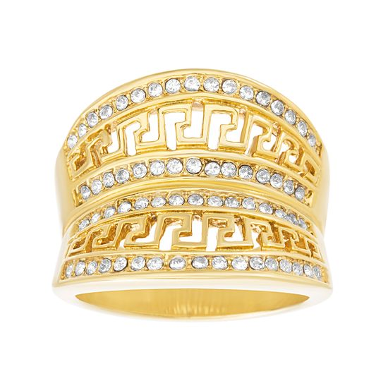 Imagen de Gold-Tone Stainless Steel Crystal Greek Key Design Concave Ring Size 9