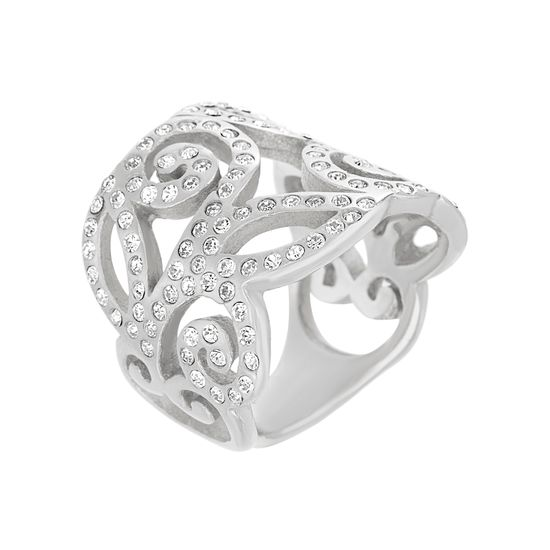 Imagen de Silver Plated Stainless Steel Crystal Swirl Design Ring
