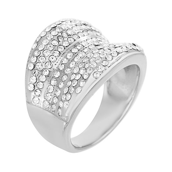 Imagen de Silver Plated Stainless Steel Pave Crystal Concave Shaped Ring
