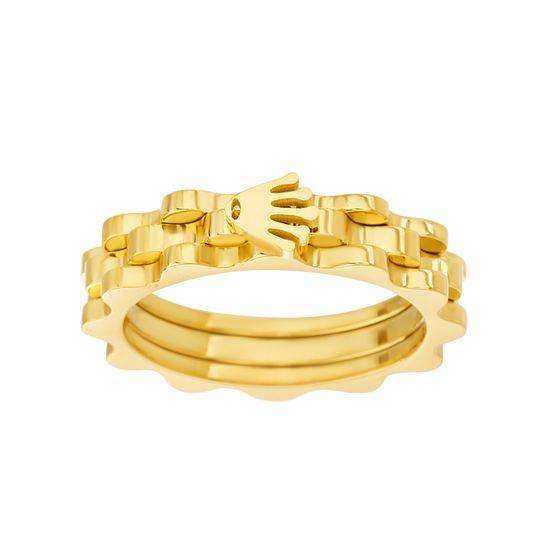 Imagen de Gold IP Stainless Steel Wavy Design Ring