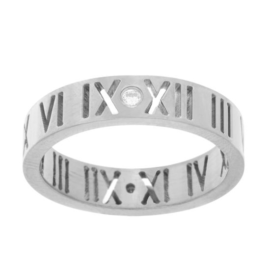 Imagen de Roman Numerals Wedding Band Ring in Stainless Steel