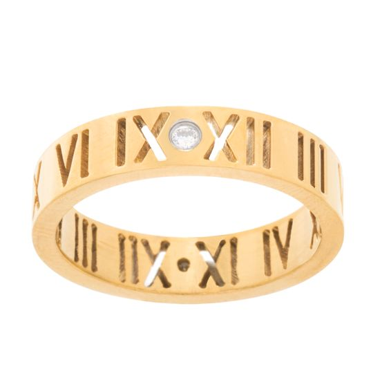 Imagen de Roman Numerals Wedding Band Ring in Gold IP Stainless Steel