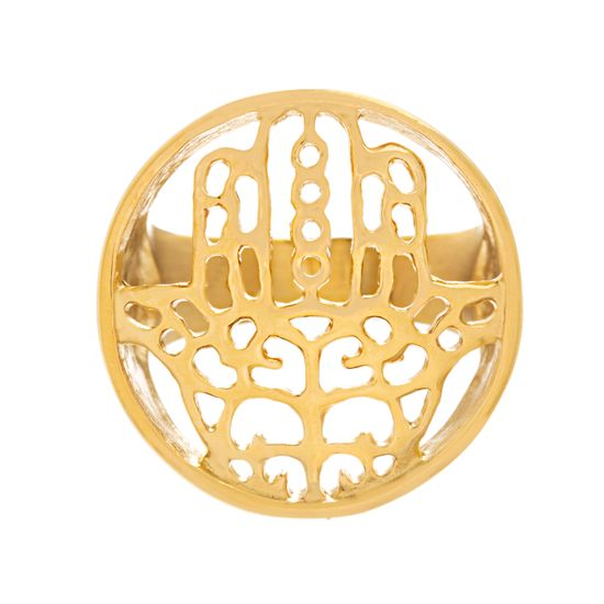 Imagen de Filigree Hamsa Ring in Gold IP Stainless Steel