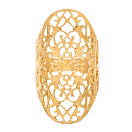Picture of Filigree Design Oval Ring in Gold IP Stainless Steel