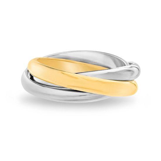 Imagen de Two-Tone Stainless Steel Triple Interlock Band Ring Size 6
