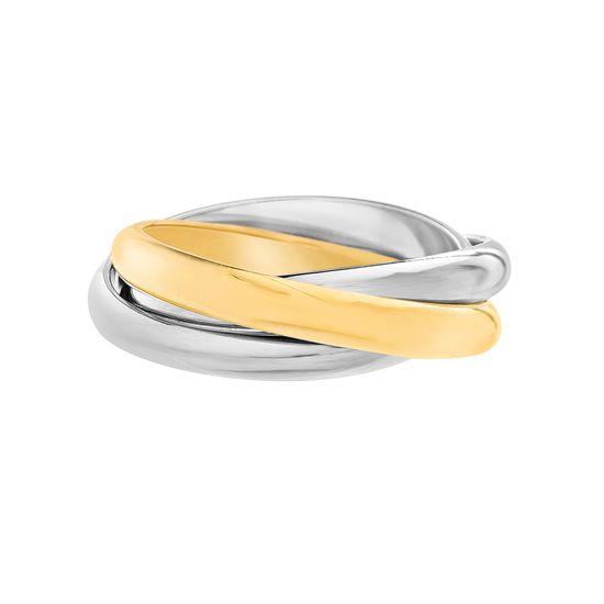 Imagen de Two-Tone Stainless Steel Triple Interlock Band Ring Size 7