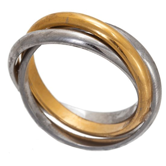 Picture of Two-Tone Stainless Steel Triple Interlock Band Ring Size 8
