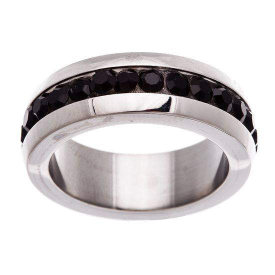 Imagen de Silver-Tone Stainless Steel Black Cubic Zirconia Center Band Ring